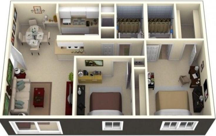 casa rectangular en 3d