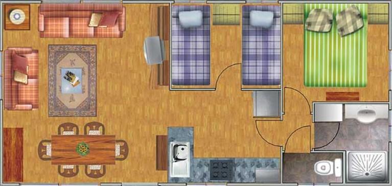 Planos de casas de una planta rectangular for Casas rectangulares