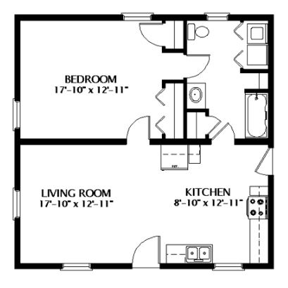 planos para casas de un dormitorio