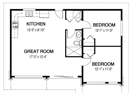 Plano de casa 2 habitaciones