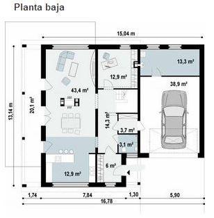 Plano de casa de 13 x 15 m