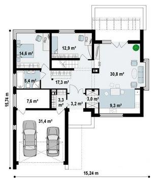 Plano de casa de 15 x 15 m