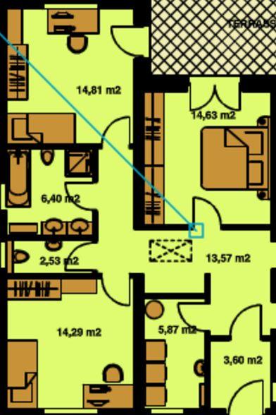 Plano de tres recámaras con baño compartido