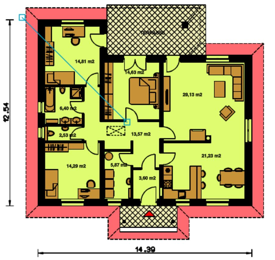 Medidas de una casa con 2 recamaras y bano planos de casas for Casas de tres recamaras