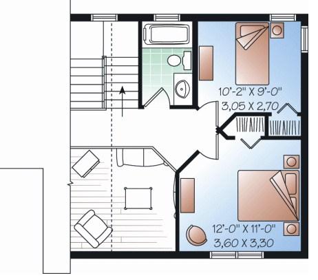 Planos de casas de dos pisos y 100 metros cuadrados