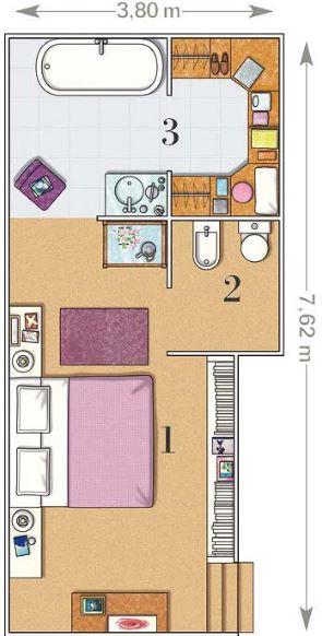 Planos de dormitorios matrimoniales for Medidas dormitorio matrimonio