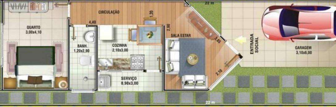 Planos para un terreno de 6×20 de un piso