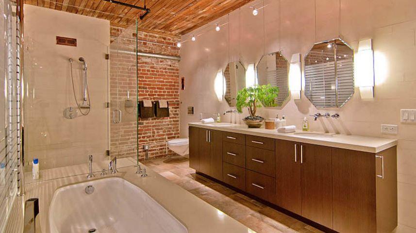 baño de loft rustico