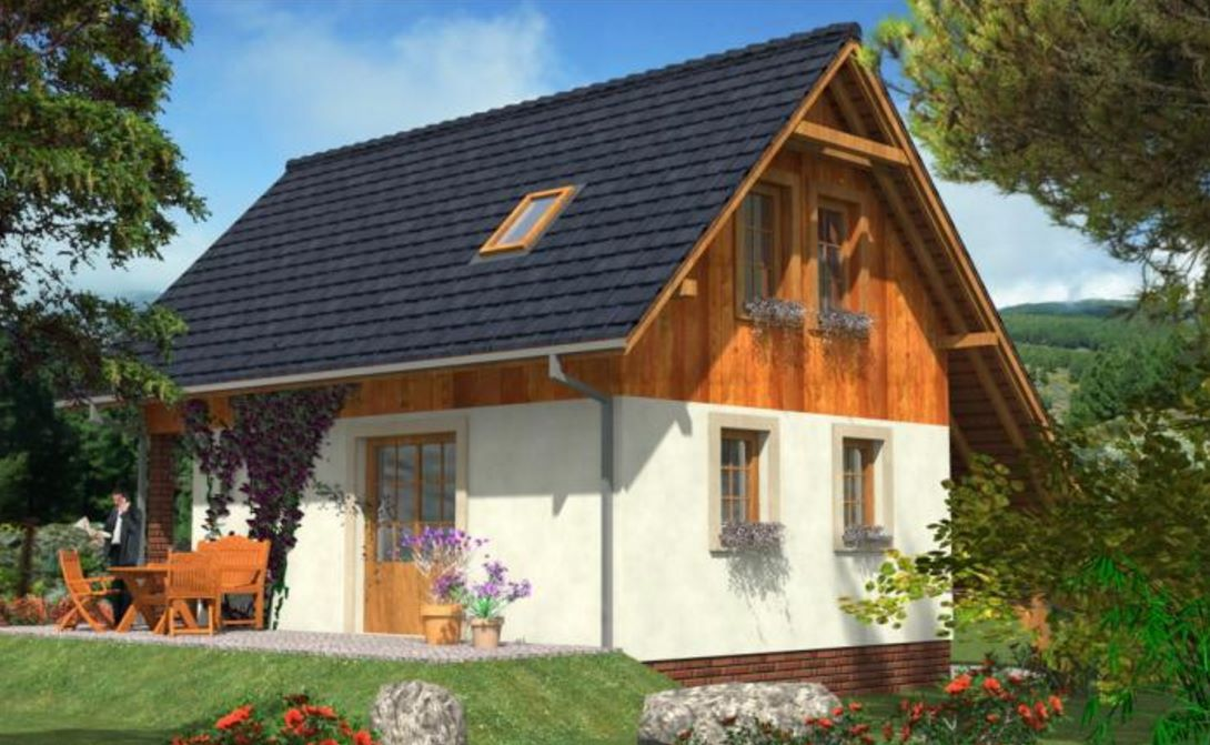 Casa con techo al suelo