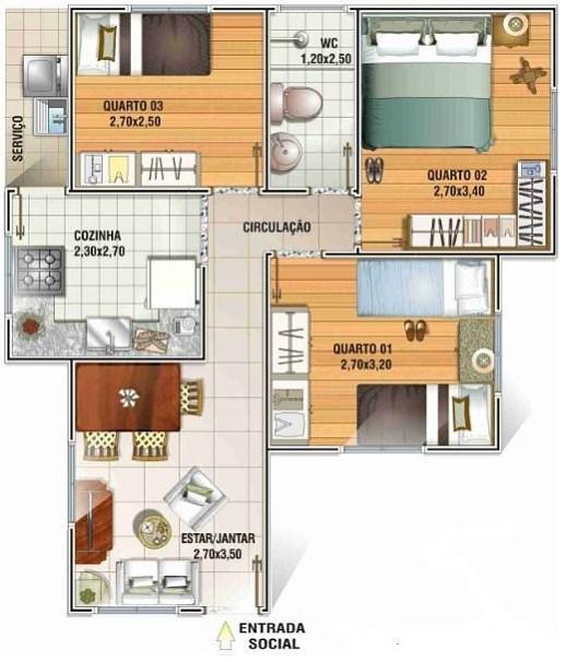 Plano de casa de 7 x 8 m