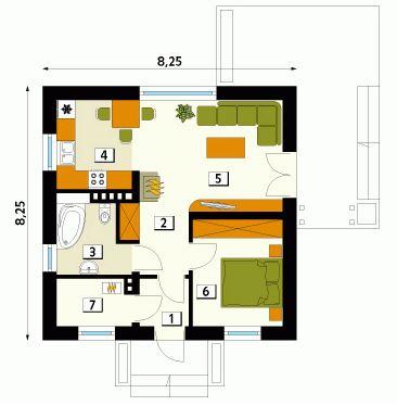 Plano de casa de 8 x 8 metros