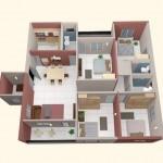 Plano de departamento de 4 dormitorios