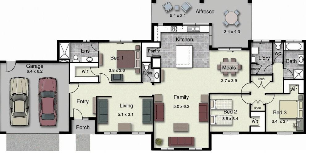 Planos de casas modernas con frente grandes
