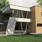 Plano de casa moderna con cortes