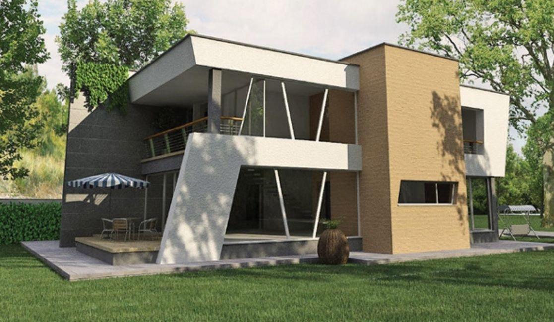 casa moderna con cortes