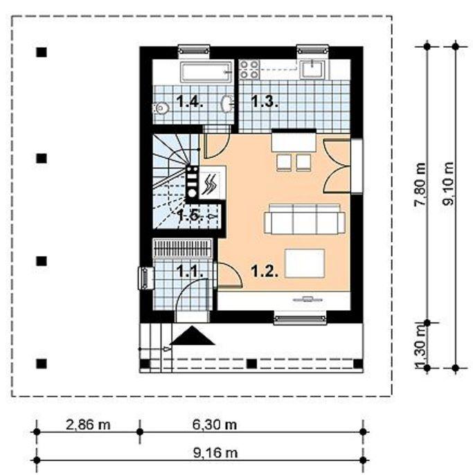 plano de casa con techo hasta el suelo