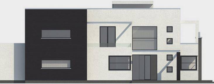 Casa moderna con piscina en el jardín trasero corte lateral