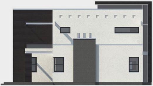 Casa moderna con piscina en el jardín trasero vista frontal