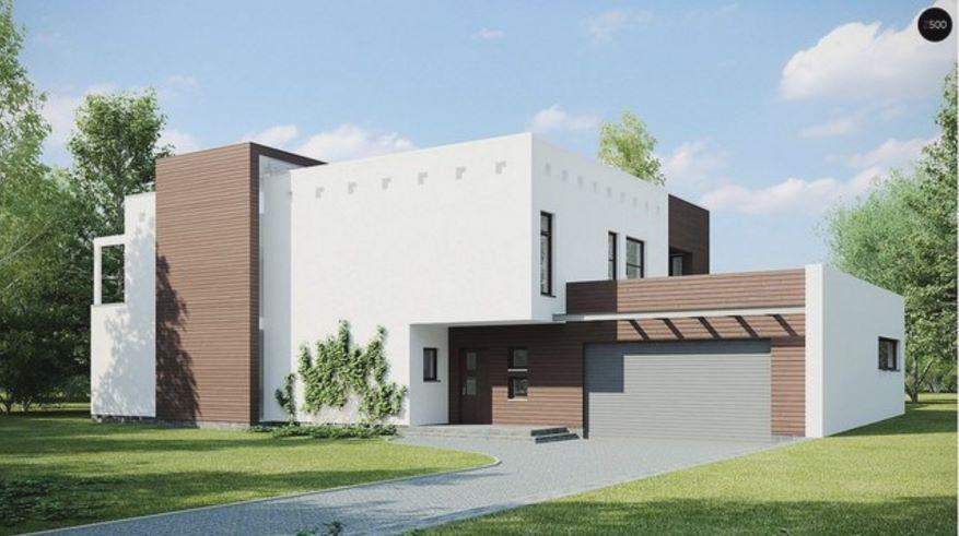 Casa moderna con piscina en el jardín trasero