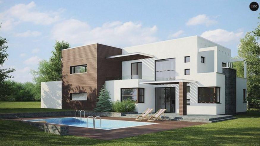 casa moderna con piscina en el jard n trasero