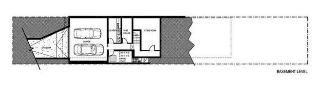 Plano de casa angosta y larga moderna