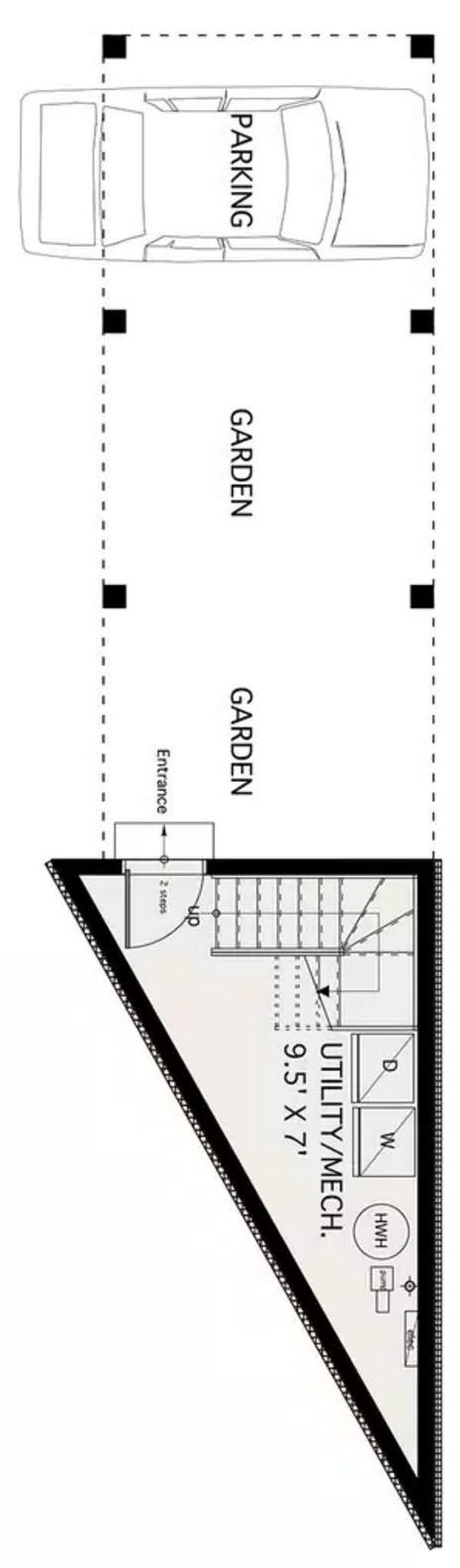 Plano de casa en cuña con 80 metros cuadrados