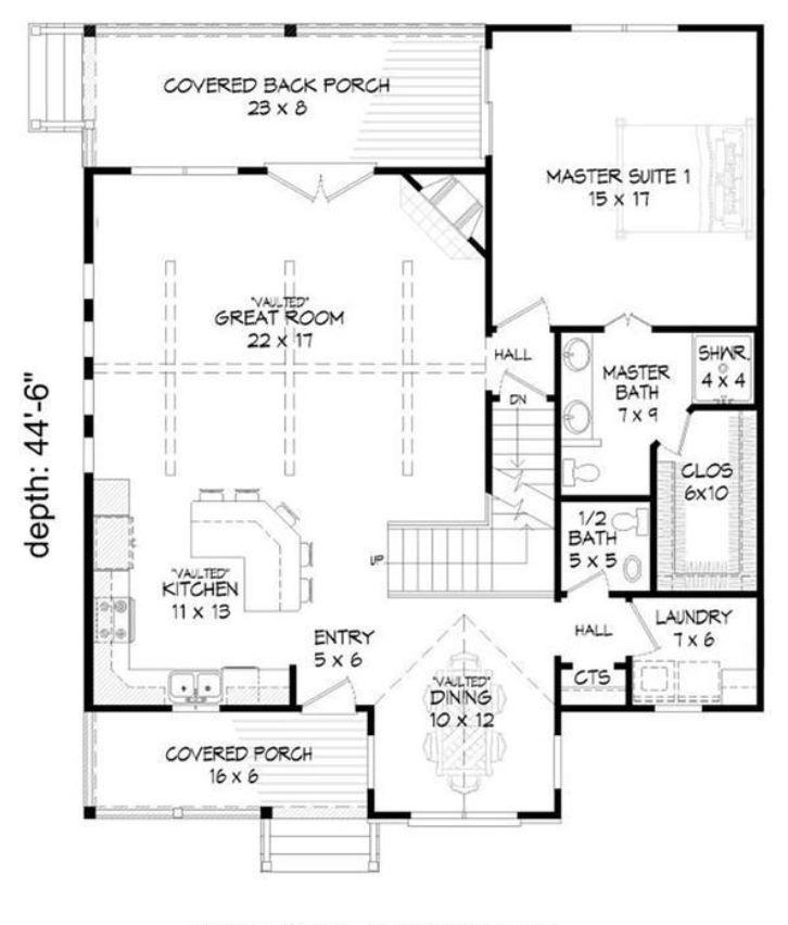 Plano de casa revestida en piedra y madera