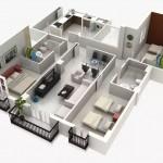 Plano de departamento de 3 habitaciones en 3D