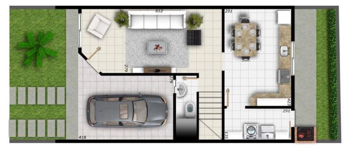 Planos de duplex con cochera