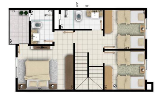 Planos de duplex con medidas en metros