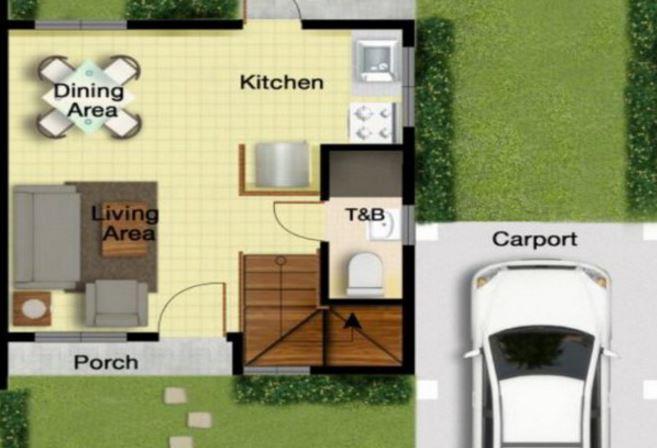 Modelo de casa de dos pisos de 60 m2