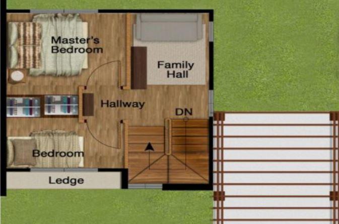 Modelo de casa de dos pisos de 60m2