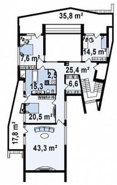 Plano casa lujosa y amplia