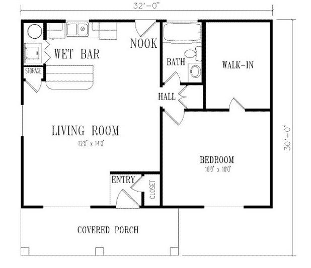 Plano de casa sencilla con corredores coloniales