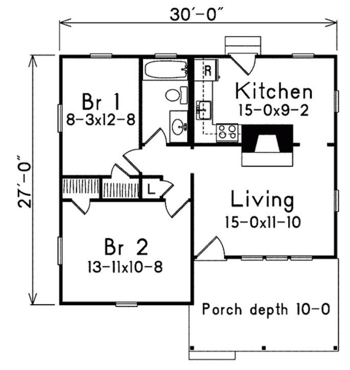 Plano pequeño de 70 metros cuadrados y 2 dormitorios