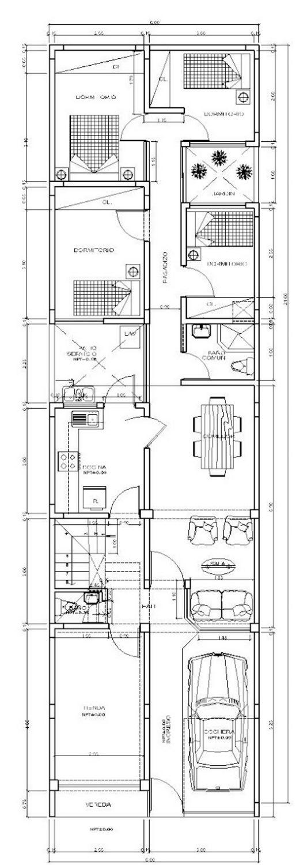 Planos gratis de casas 6×20 2 pisos