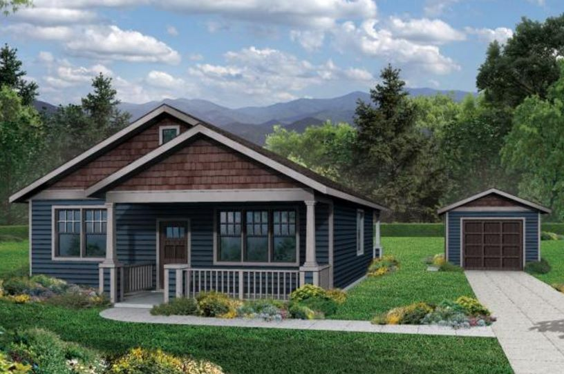 Planos y fachadas de casas peque as de una planta y tres for Modelos de casas de 3 dormitorios