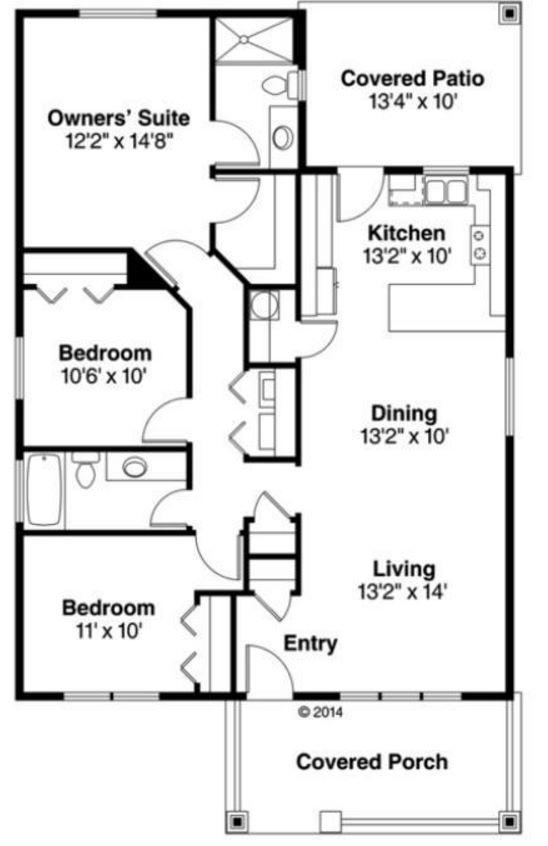 Planos y fachadas de casas pequeñas de una planta y tres dormitorios
