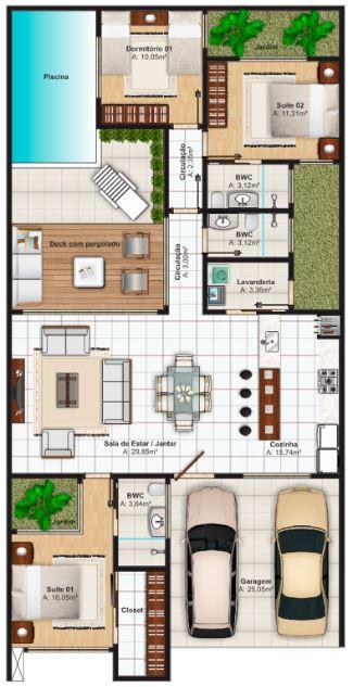 Como crear planos de casas en 120 metros cuadrados de una planta