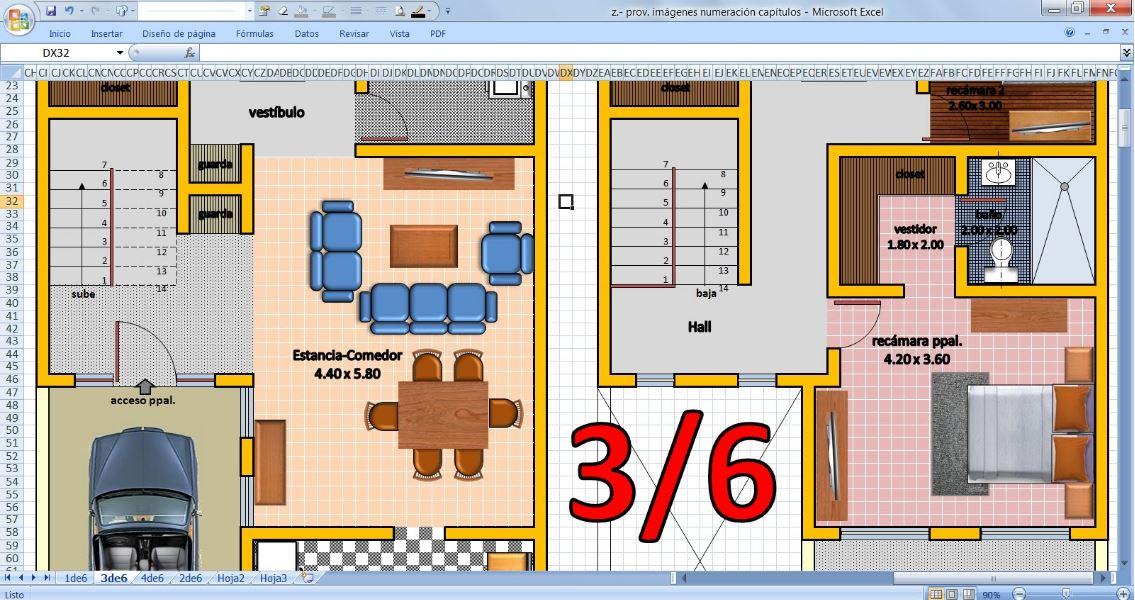 Dibujo de planos en excel for Como disenar una casa gratis