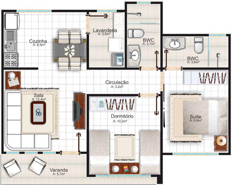 Diseño de casas con dos habitaciones simples y un corredor