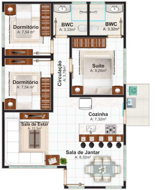 Plano de casa sencilla de un piso dos aguas