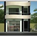 Plano para casa de dos plantas en la primera planta tienda garaje cocina living comedor estudio baño y cuarto para visitas con medidas 90 metros cuadrados