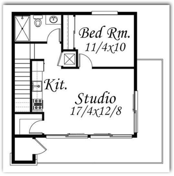 Plano para casa de dos plantas en la primera planta tienda garaje cocina living comedor estudio baño y cuarto para visitas con medidas 90