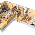 Planos casas forma L 90m