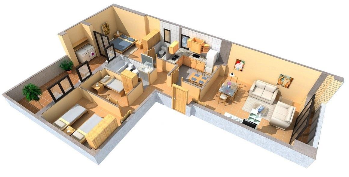 Planos casas forma l 90m for Casas en ele planos
