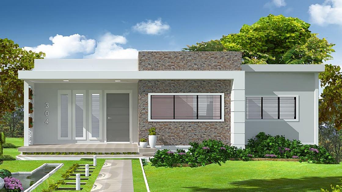 Planos de casas con dos habitaciones simples y un corredor