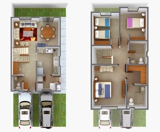 planos de casas de dos pisos 150 metros