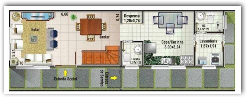 Planos de casas duplex fachada 6 metros
