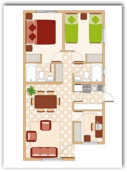 Planos y fachadas de casas bonitas y peque as de 60 y 70 for Planos de casas lindas